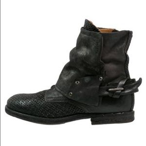 A.S. 98 Black Hooded Ankle Boots